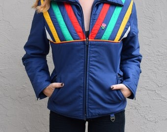 Vintage 1970's Ski Jacket - SKYR blue rainbow striped - women's size small/xs