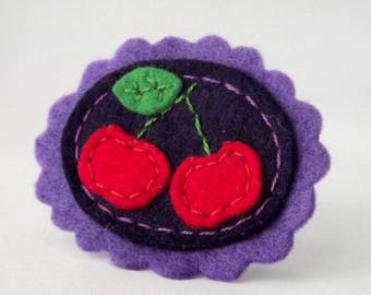 Cherry cameo felt pin - Cameo brooch - 100% wool felt cameo with cherries , fruits , gift for girls , thecraftdesk