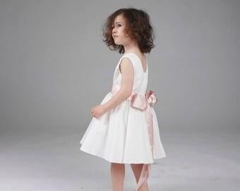 Cotton dress, parade or ceremony, communion, baptism or birthday - model Alice