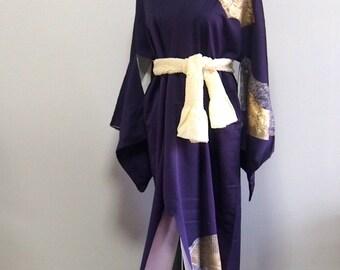 Purple with gold / antique silk kimono robe