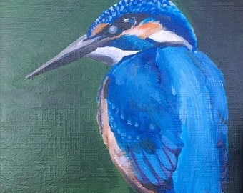 Kingfisher Painting-Original Acrylic Painting on Canvas-10x16cm-Wooden Easel Included-Wildlife-British Birds-Small-Gift