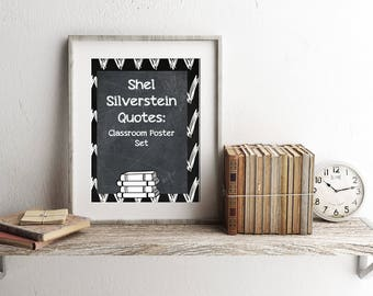 Shel Silverstein Quotes Classroom Poster Set, digital prints