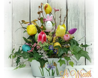 Easter Centerpiece, Easter Table Arrangement, Easter Floral Arrangement, Easter  Decor, Bunny Flower