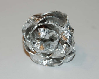 aluminium ring, adjustable width, handcrafted, frosted effect