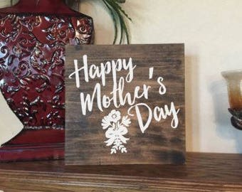 Happy Mothers Day - Mother Wood Sign - Personalized Wood Sign.
