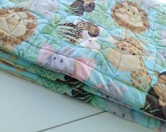 Baby quilt handmade,zoo animals baby blanket, baby shower gift, crib quilt, toddler quilt, play pad, safari animals