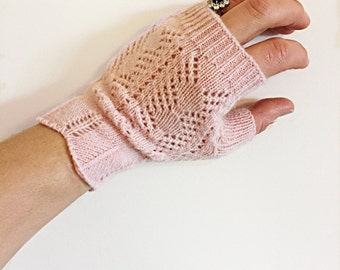 PIPPA FINGERLESS GLOVES - fingerless gloves, crochet gloves, pink fingerless gloves, tea party gloves, bridal gloves, wedding gloves,  gift