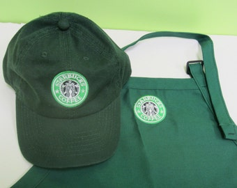 Halloween  Costume Starbucks barista apron and hat set,both adjustable one size fit all