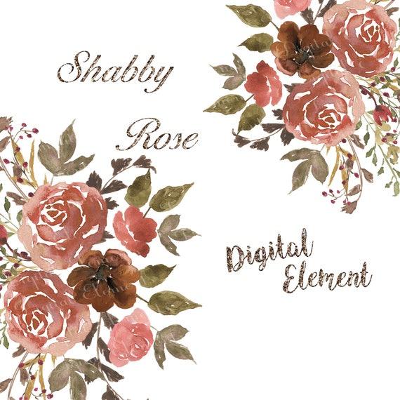 Digital Watercolor Clip-art, Peach And Copper Rose Clip