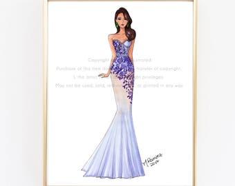 Purple Dress, Fashion Illustration, Fashion Illustration Print, Pink Art, Girly Art, Chic Art, Fashionista, Fashion Art Print, Girl Art