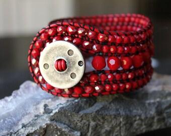 Beaded Bracelet, 5 Row Beaded Bracelet, Cuff Bracelet, Leather Bracelet