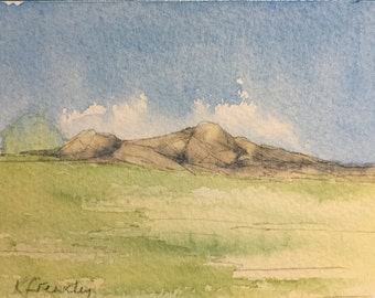 Original Watercolour, small painting, Pencil, Watercolor, Hills, Fields, England, Handmade, Hand painted, Haytor