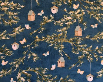 2 Yards Wilmington Prints Lakeside Retreat by Daphne B Midnight Blue Branches NEW