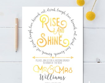 Post Wedding Brunch Invitation Printable - Rise and Shine Wedding Brunch - Bridal Brunch Invitation Printable - Newlywed Brunch