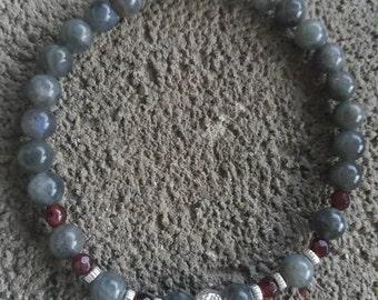 Energetized Labradorite and Garnet bracelet