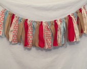 Rustic Christmas Garland/Aqua and Red Garland/Fabric Garland/Christmas Garland/Mantel Decor/Fireplace Decor/Rustic Wedding Garland