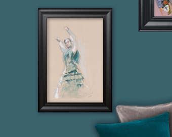 Flamenco dancer, original drawing, watercolor, oil pastel