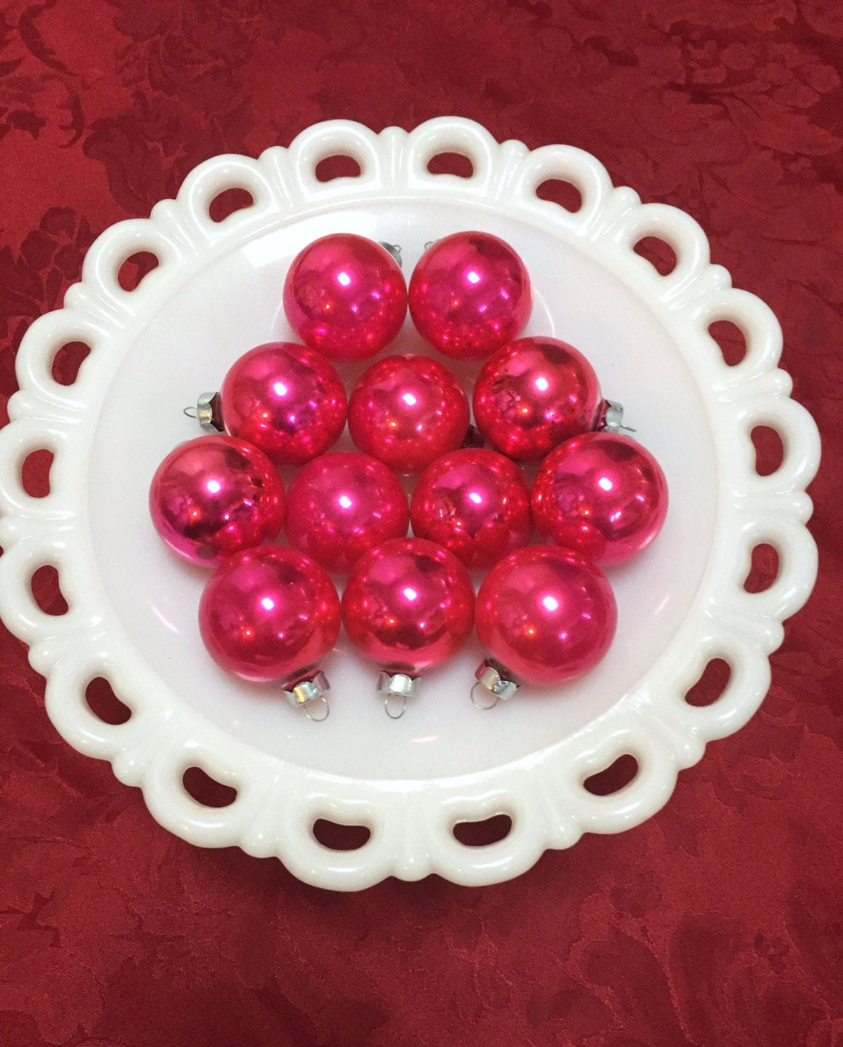 Coby Glass Christmas Tree Ornaments : Vintage christmas ornaments coby bright pink mercury glass