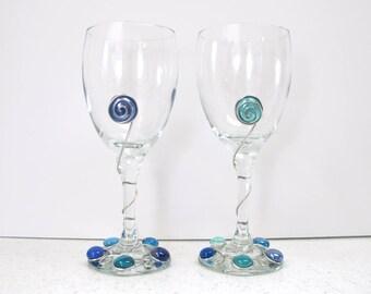 Set of Two Blue Beaded Wine Glasses, Blue Wine Glasses, Wire Wrapped Wine Glasses, Fun Wine Glasses