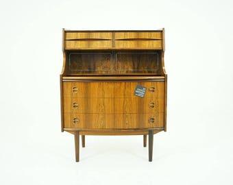 308-047 Danish Mid Century Modern Rosewood Secretary Desk