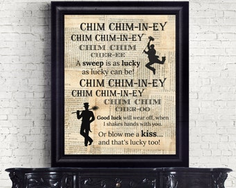 Mary Poppins Chim Chim-in-ey Bert Dictionary Page mixed media Instant Download Wall Art Print