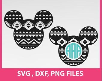 Aztec Mickey Svg, Aztec Mickey monogram frames, SVG, DXF, PNG Formats 0010