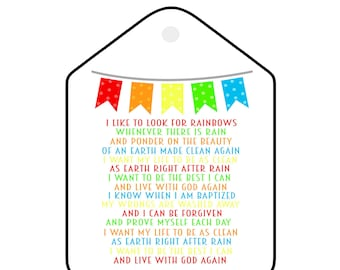Gift Tags: When I am Baptized Song Lyrics, Set Of 4 Digital Download I Like To Look For Rainbows