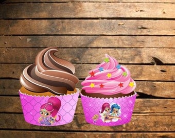 Instant Download Shimmer and Shine Cupcake Wraps