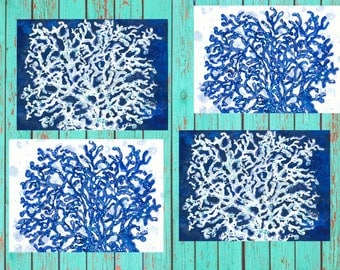 FREE SHIPPING!  Navy Blue & White Coral Placemats, set of 4