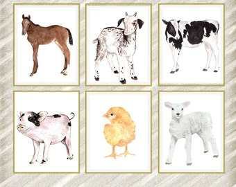 "Farm animal Prints: ""NURSERY PRINT"" Kids room Prints Nursery wall art Watercolor Baby Animal Prints Baby room decor Farm animals Set of 6"