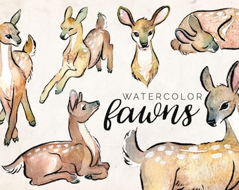 Watercolor Fawns Clipart Set - INSTANT DOWNLOAD - High Res, PNG, Printable and Cute! For weddings, nurseries and baby showers