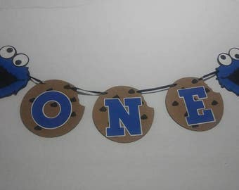 Cookie monster first birthday banner cookie monster one banner high chair cookie monster banner