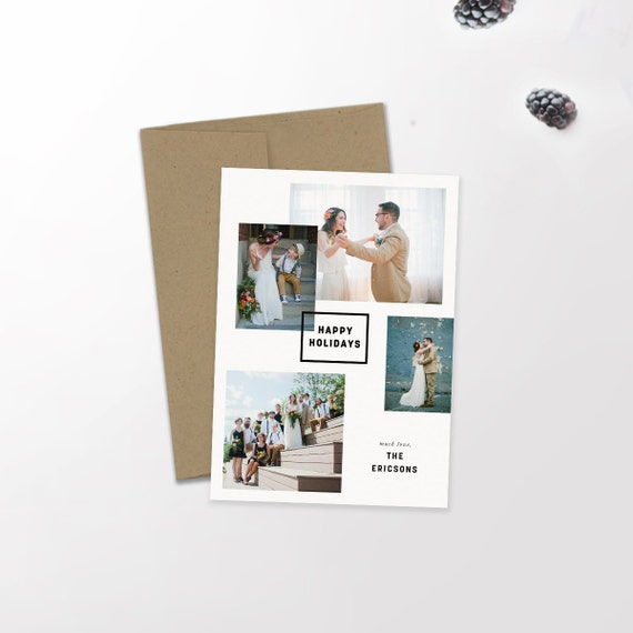 Multi Photo Modern Holiday Card | Minimalist Holiday | Hipster Christmas | Newlywed Christmas | Merry + Bright | Christmas Card | Custom
