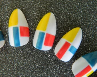 Colour Block Stiletto False Nails