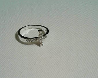 1990's Sterling SIlver and CZ Cross Ring