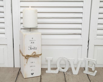 Personalized candlestick for birth baptism