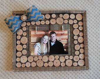 Wood slice photo frame or memo board - ready to ship