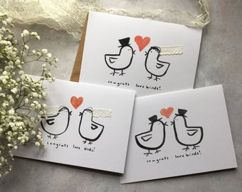 Lovebirds - same sex wedding, engagement, anniversary, hand-finished greeting card