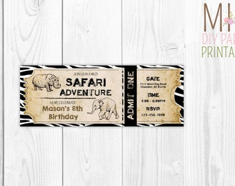 Safari ticket invite,Safari Party Invitation,Jungle Birthday Invitation, Zoo Invitation, Safari Invitation,Jungle Party, Safari Invitation