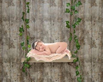 Digital backdrop background, newborn wooden swing prop download