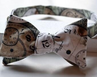 Clock Bow Tie, Steampunk Bow Tie, Self-Tie Bow Tie, Steampunk Bowtie, Bowties for Men, Geek Bowtie, Funky Bow Tie, Mens Bowtie, Mens Bow Tie