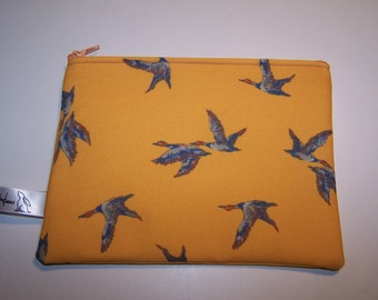 Yellow cosmetic bag with flying duck, geese pattern. Washbag,  Clutch.  Valentines Day gift, Gift for her, birthday gift, anniversary gift
