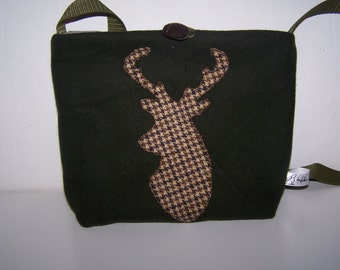 Bottle green wool and tweed deer applique handbag. Green wool and stag bag. Gift for her. Birthday gift.  Stag applique. Anniversary gift