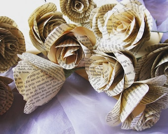 VINTAGE Origami flowers, rustic PAPER BOOK pages, paper flowers
