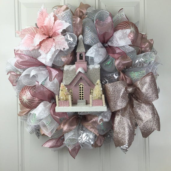 On Sale 20 Off Rose Gold Christmas Wreath Christmas Deco