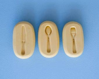 """Three pieces Mini Cutlery Molds Set 0.9"""" (2.5cm) - Flexible Silicone Molds - Push Molds - Polymer Clay Molds - Resin Molds - Fondant Molds"""
