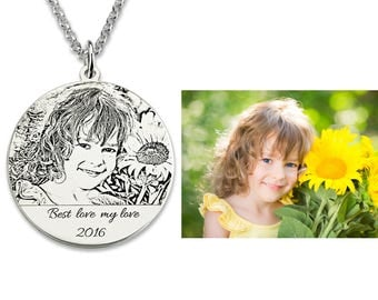 Baby Photo Necklace, Engraved Photo Necklace,  Photo Charms, Portrait Necklace, Silver Photo Necklace