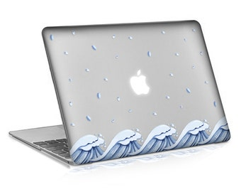 Macbook Rubberized Hard Case, Tidal Crest Design with Clear Bottom Case