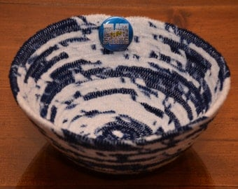 Fabric Rope Coiled Basket Handmade: Blue White We Are Penn State Theme Pin Fleece - Round Small