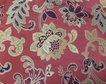"Terracotta ""Bella Figura"" Jacquard Floral Curtaining/Upholstery Fabric. Price Per Metre."